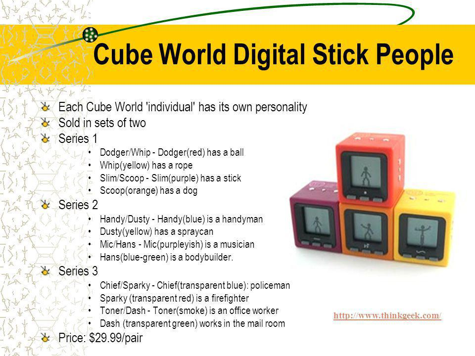 Cube World Digital Stick People Each Cube World individual has its own personality Sold in sets of two Series 1 Dodger/Whip - Dodger(red) has a ball Whip(yellow) has a rope Slim/Scoop - Slim(purple) has a stick Scoop(orange) has a dog Series 2 Handy/Dusty - Handy(blue) is a handyman Dusty(yellow) has a spraycan Mic/Hans - Mic(purpleyish) is a musician Hans(blue-green) is a bodybuilder.