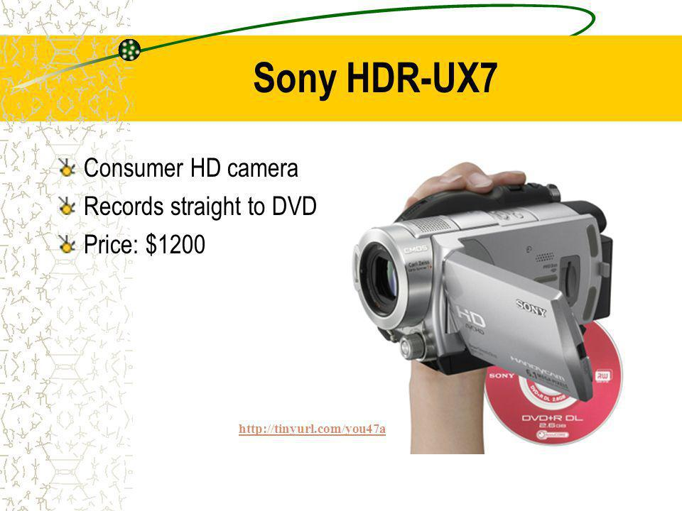 Sony HDR-UX7 Consumer HD camera Records straight to DVD Price: $1200 http://tinyurl.com/you47a