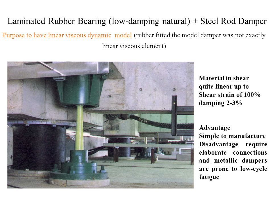 Laminated Rubber Bearing (low-damping natural) + Steel Rod Damper Material in shear quite linear up to Shear strain of 100% damping 2-3% Purpose to have linear viscous dynamic model (rubber fitted the model damper was not exactly linear viscous element) Advantage Simple to manufacture Disadvantage require elaborate connections and metallic dampers are prone to low-cycle fatigue