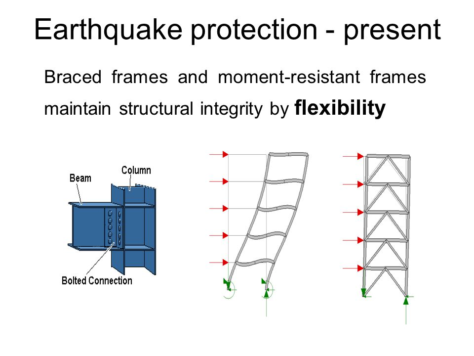Earthquake protection - present Braced frames and moment-resistant frames maintain structural integrity by flexibility