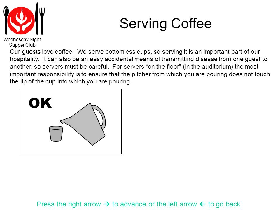 Wednesday Night Supper Club Serving Coffee Press the right arrow to advance or the left arrow to go back Our guests love coffee.
