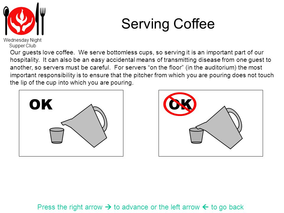 Wednesday Night Supper Club Serving Coffee Press the right arrow to advance or the left arrow to go back OK Our guests love coffee. We serve bottomles