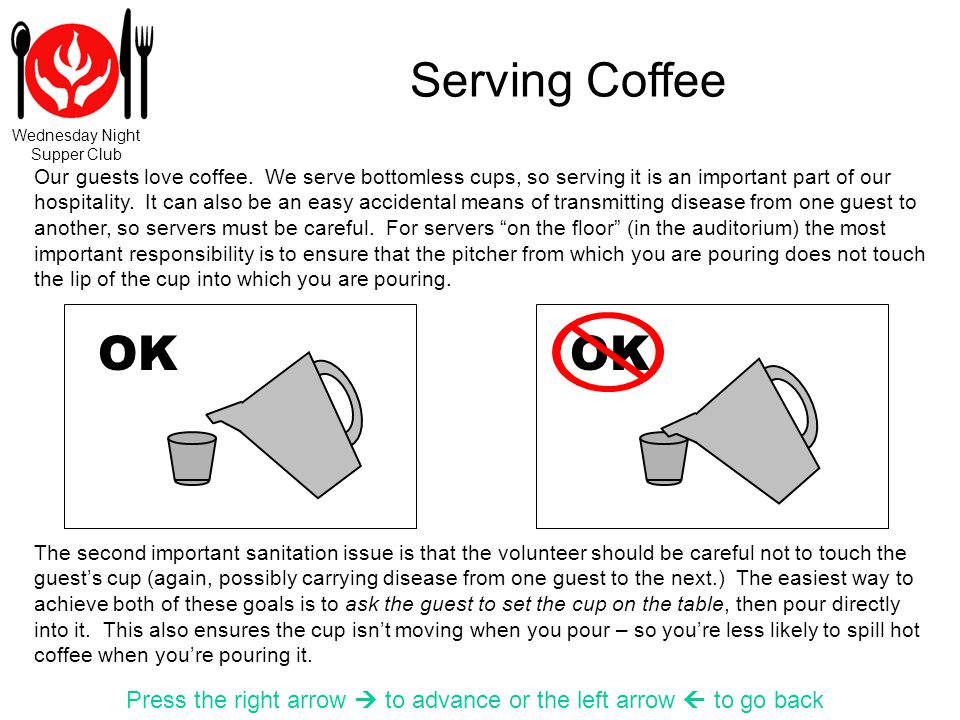 Wednesday Night Supper Club Serving Coffee Press the right arrow to advance or the left arrow to go back OK Our guests love coffee.