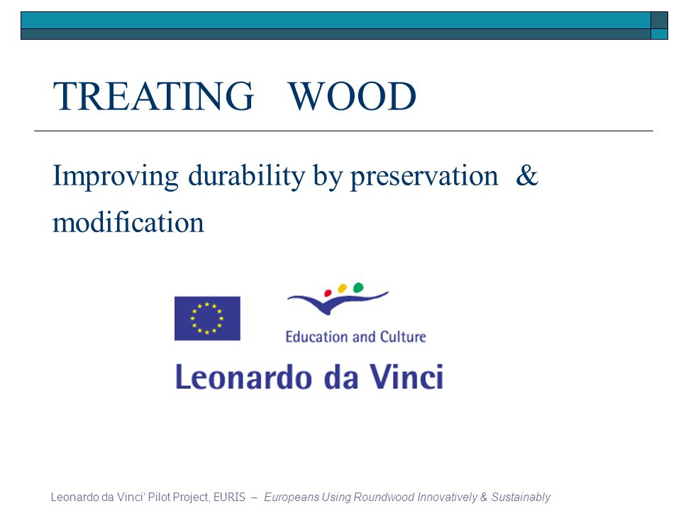 TREATING WOOD Improving durability by preservation & modification Leonardo da Vinci Pilot Project, EURIS – Europeans Using Roundwood Innovatively & Sustainably