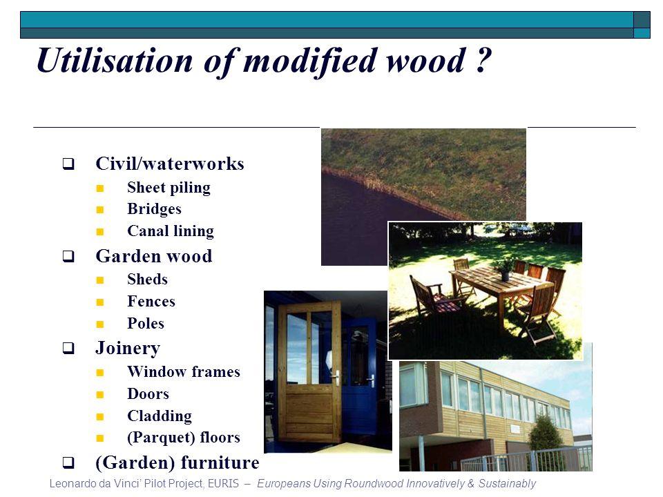 Utilisation of modified wood .