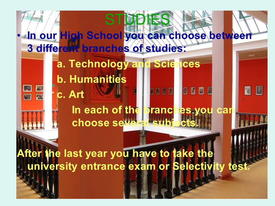 STUDIES In our High School you can choose between 3 different branches of studies: a.