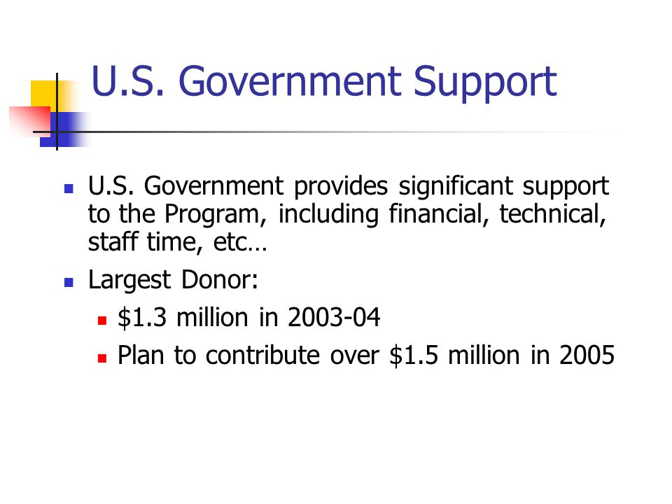 U.S. Government Support U.S.