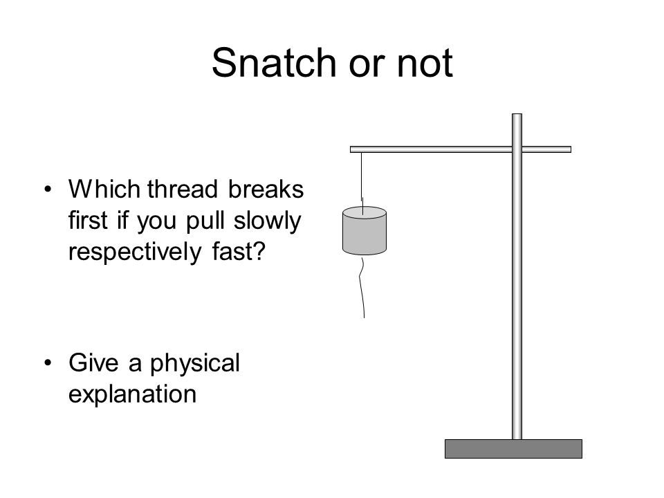 Snatch or not Which thread breaks first if you pull slowly respectively fast? Give a physical explanation