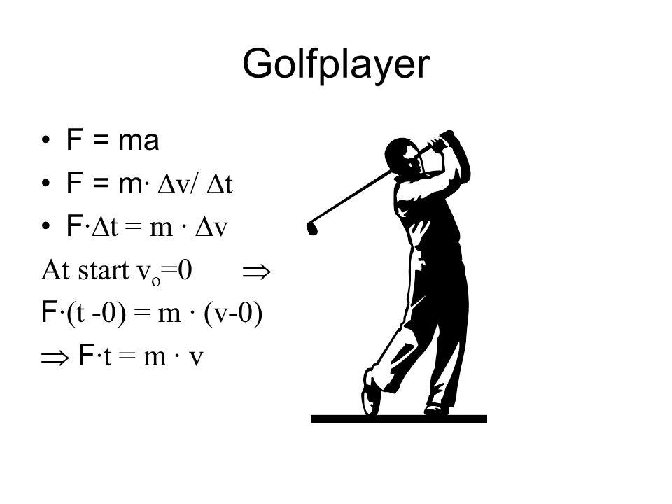 Golfplayer F = ma F = m · v/ t F · t = m · v At start v o =0 F ·(t -0) = m · (v-0) F ·t = m · v