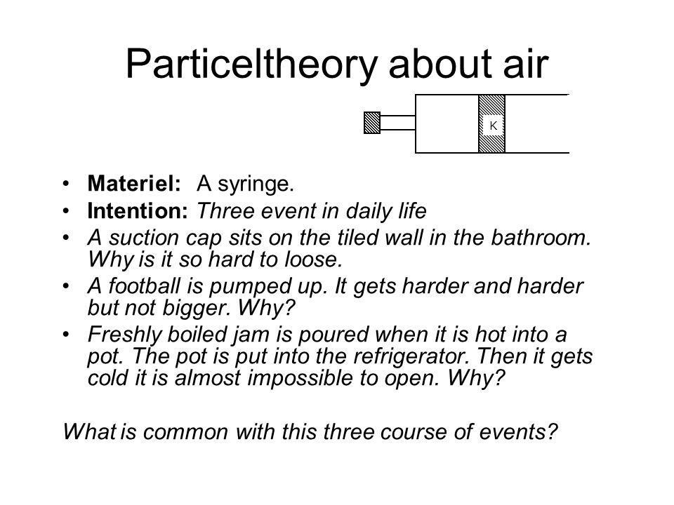Particeltheory about air Materiel: A syringe.