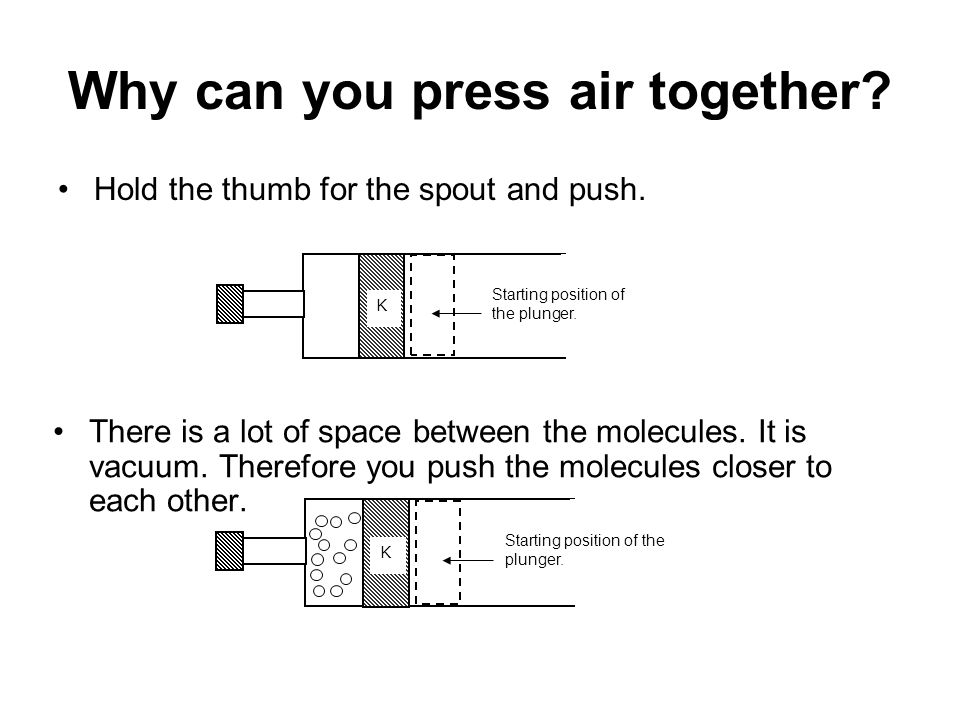 Why can you press air together? Hold the thumb for the spout and push. There is a lot of space between the molecules. It is vacuum. Therefore you push