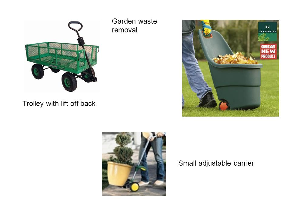 Trolley with lift off back Small adjustable carrier Garden waste removal