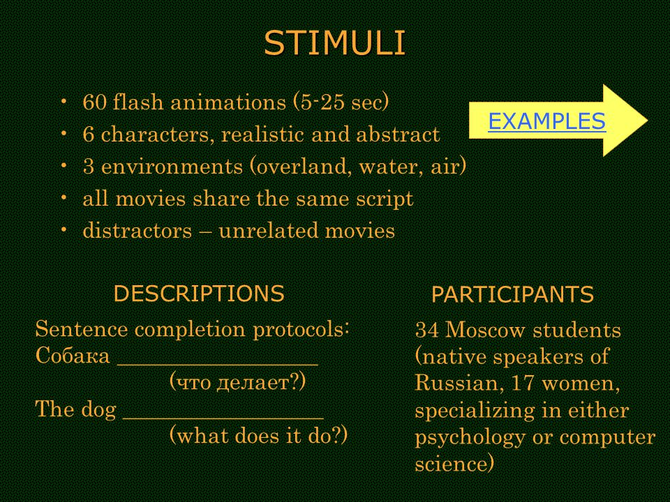 STIMULI 60 flash animations (5-25 sec) 6 characters, realistic and abstract 3 environments (overland, water, air) all movies share the same script distractors – unrelated movies EXAMPLES Sentence completion protocols: Собака __________________ (что делает ) The dog __________________ (what does it do ) DESCRIPTIONS 34 Moscow students (native speakers of Russian, 17 women, specializing in either psychology or computer science) PARTICIPANTS