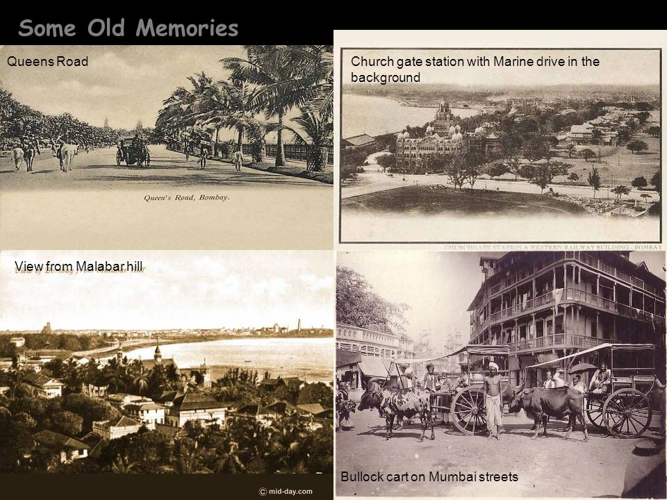 Some Old Memories View from Malabar hill Queens RoadChurch gate station with Marine drive in the background Bullock cart on Mumbai streets