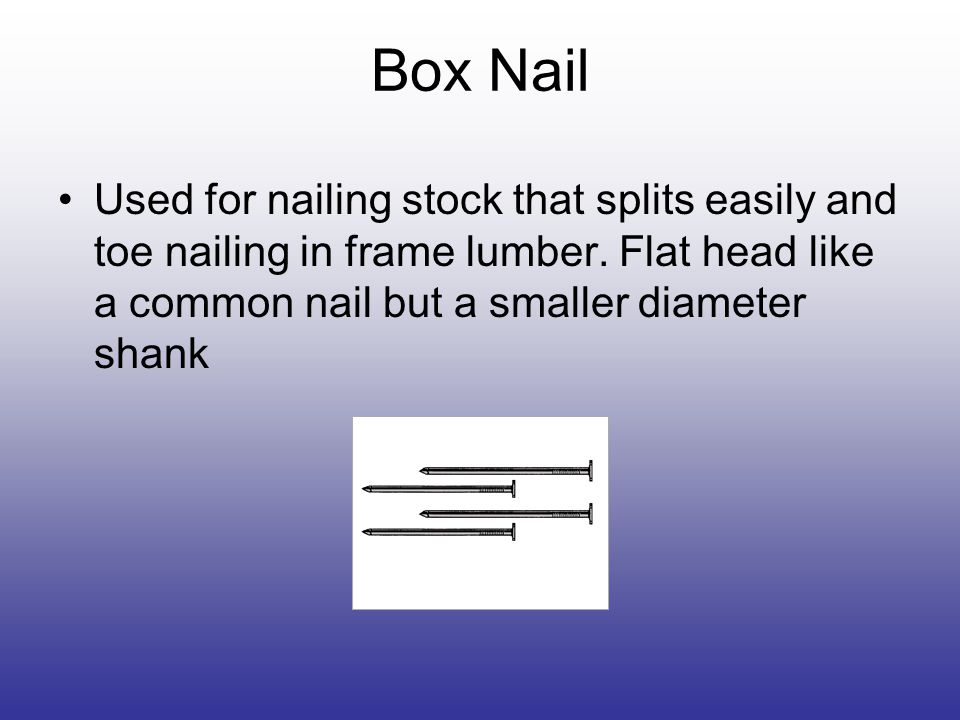 Box Nail Used for nailing stock that splits easily and toe nailing in frame lumber.