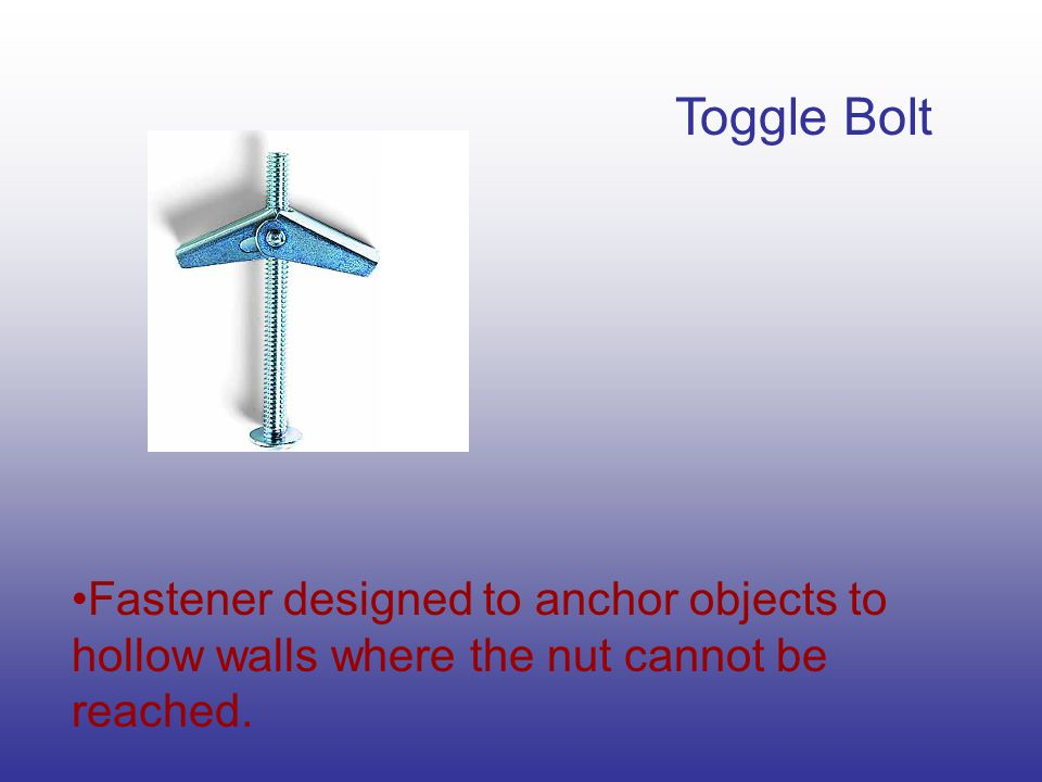 Toggle Bolt Fastener designed to anchor objects to hollow walls where the nut cannot be reached.