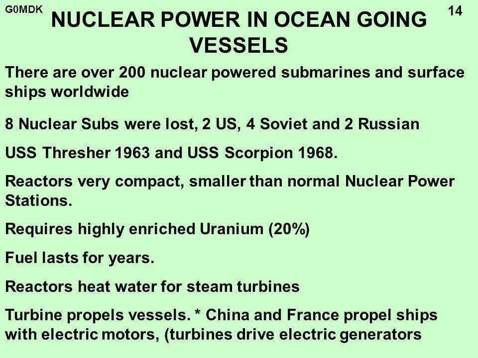 G0MDK 14 NUCLEAR POWER IN OCEAN GOING VESSELS 8 Nuclear Subs were lost, 2 US, 4 Soviet and 2 Russian USS Thresher 1963 and USS Scorpion 1968.