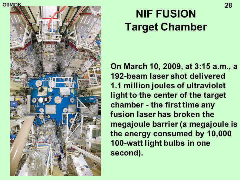 G0MDK 28 NIF FUSION Target Chamber On March 10, 2009, at 3:15 a.m., a 192-beam laser shot delivered 1.1 million joules of ultraviolet light to the center of the target chamber - the first time any fusion laser has broken the megajoule barrier (a megajoule is the energy consumed by 10,000 100-watt light bulbs in one second).
