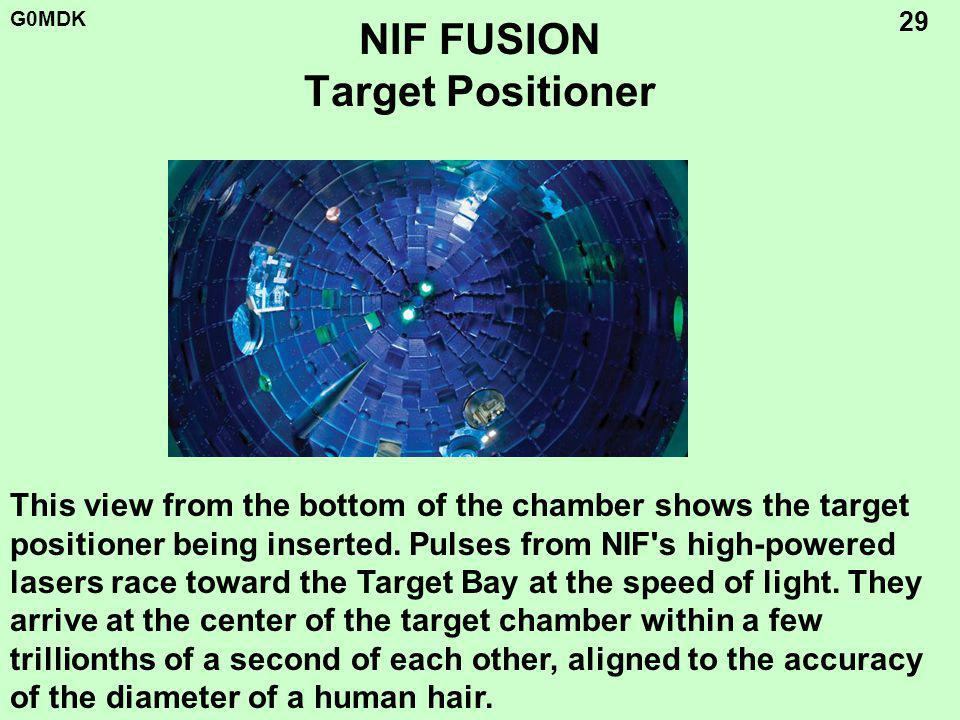 G0MDK 29 NIF FUSION Target Positioner This view from the bottom of the chamber shows the target positioner being inserted.