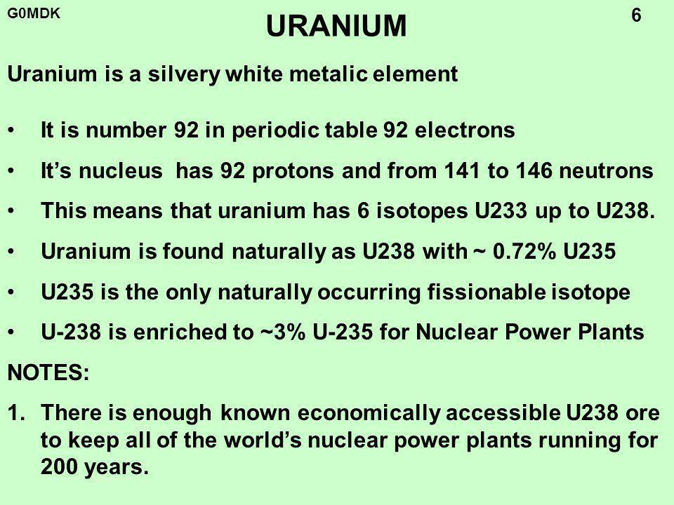 G0MDK 7 REACTOR FUEL RODS FUEL Ceramic Uranium Oxide UO 2 (Melting point 2800 O C) Enriched Uranium (3-5%) pellets 1cm dia.