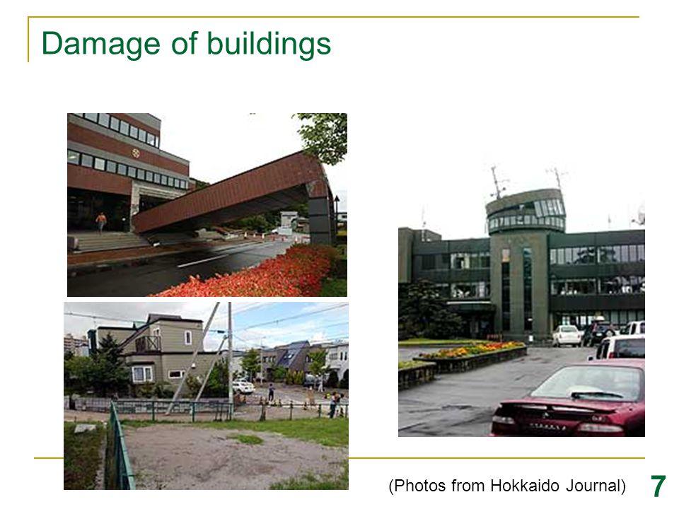 Damage of buildings (Photos from Hokkaido Journal) 8
