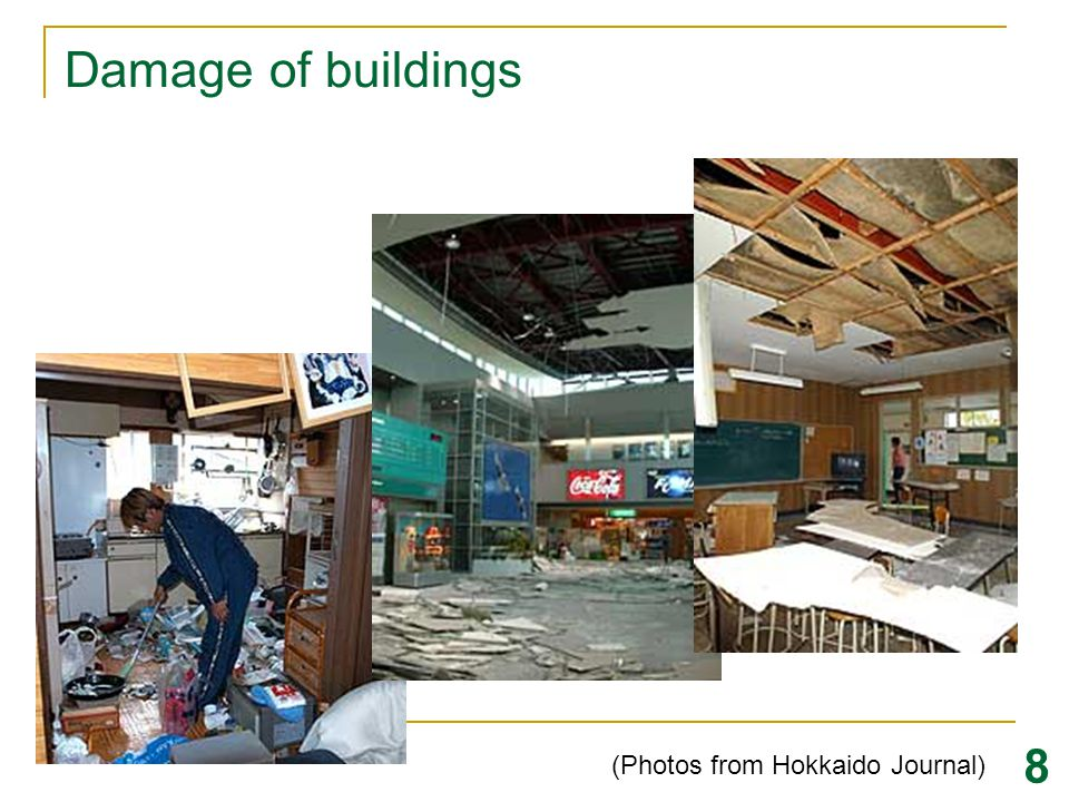 Damage of Oil Tank (Photos from Hokkaido Journal) Natural Period for Sloshing = 7 sec Tomakomai City (220 km from Epicenter) 9