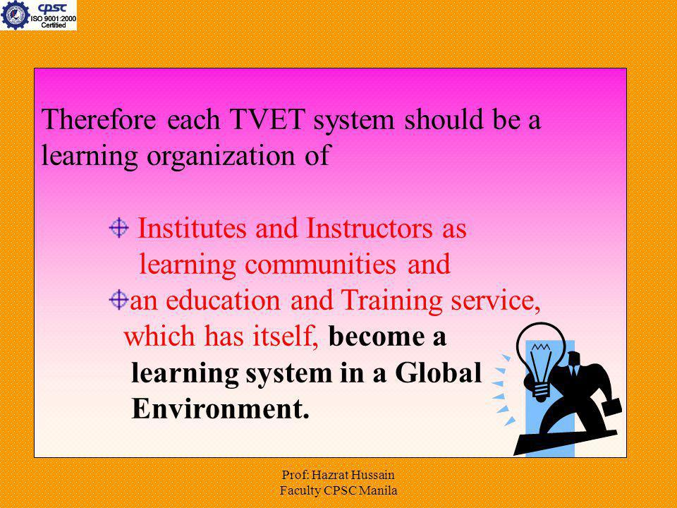 Prof: Hazrat Hussain Faculty CPSC Manila Therefore each TVET system should be a learning organization of Institutes and Instructors as learning commun