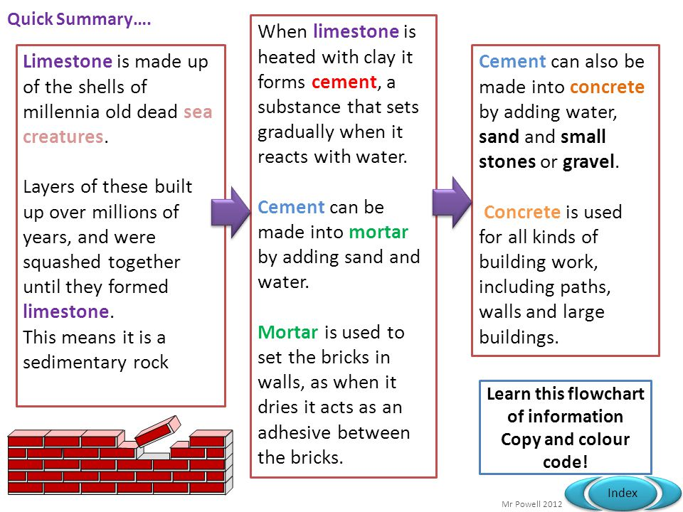 Mr Powell 2012 Index Quick Summary…. Cement can also be made into concrete by adding water, sand and small stones or gravel. Concrete is used for all