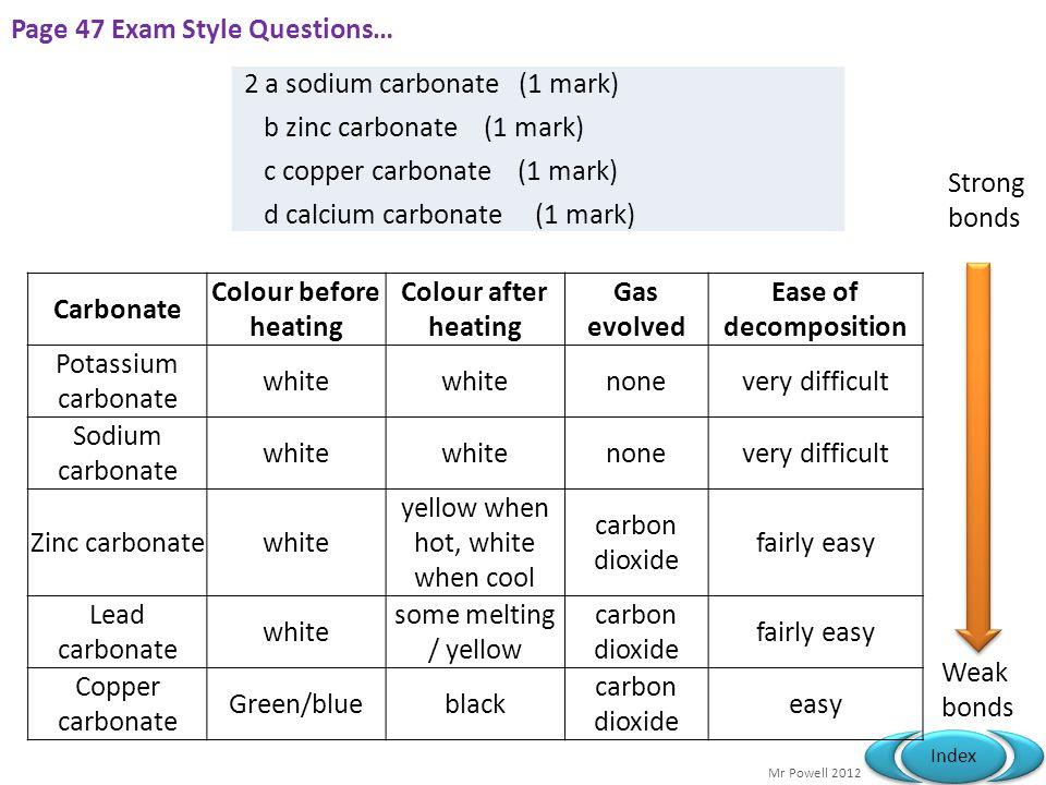 Mr Powell 2012 Index Page 47 Exam Style Questions… 2 a sodium carbonate (1 mark) b zinc carbonate (1 mark) c copper carbonate (1 mark) d calcium carbo