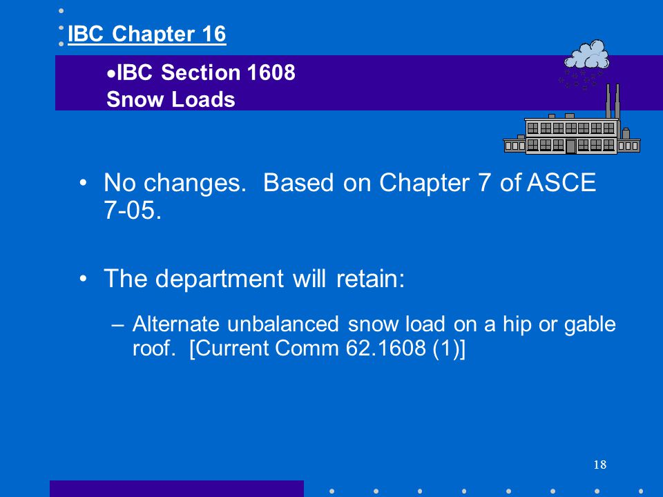 18 No changes. Based on Chapter 7 of ASCE 7-05. The department will retain: –Alternate unbalanced snow load on a hip or gable roof. [Current Comm 62.1