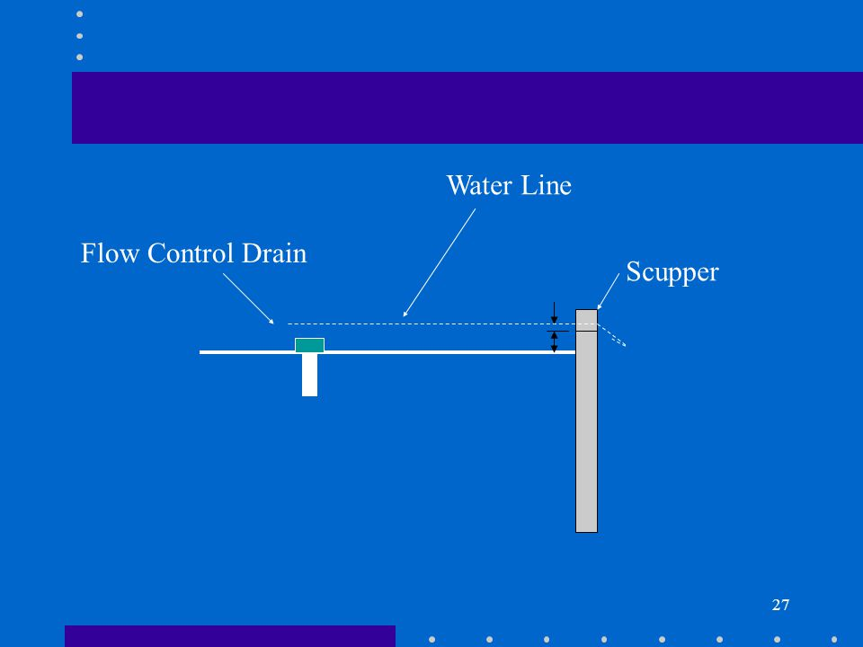 27 Scupper Flow Control Drain Water Line