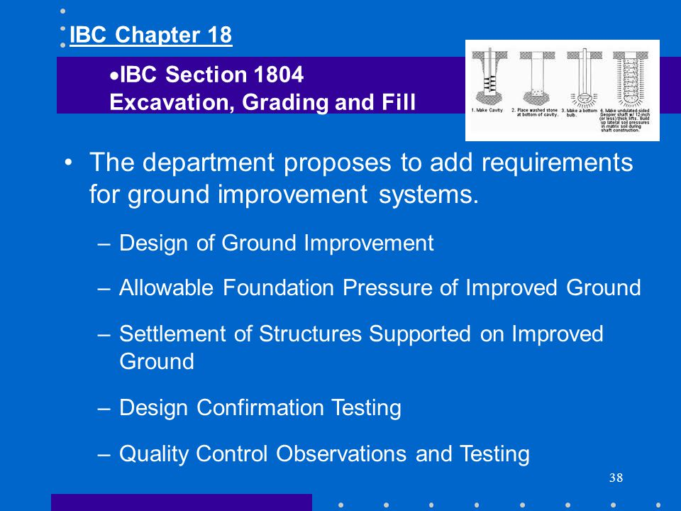 38 The department proposes to add requirements for ground improvement systems. –Design of Ground Improvement –Allowable Foundation Pressure of Improve