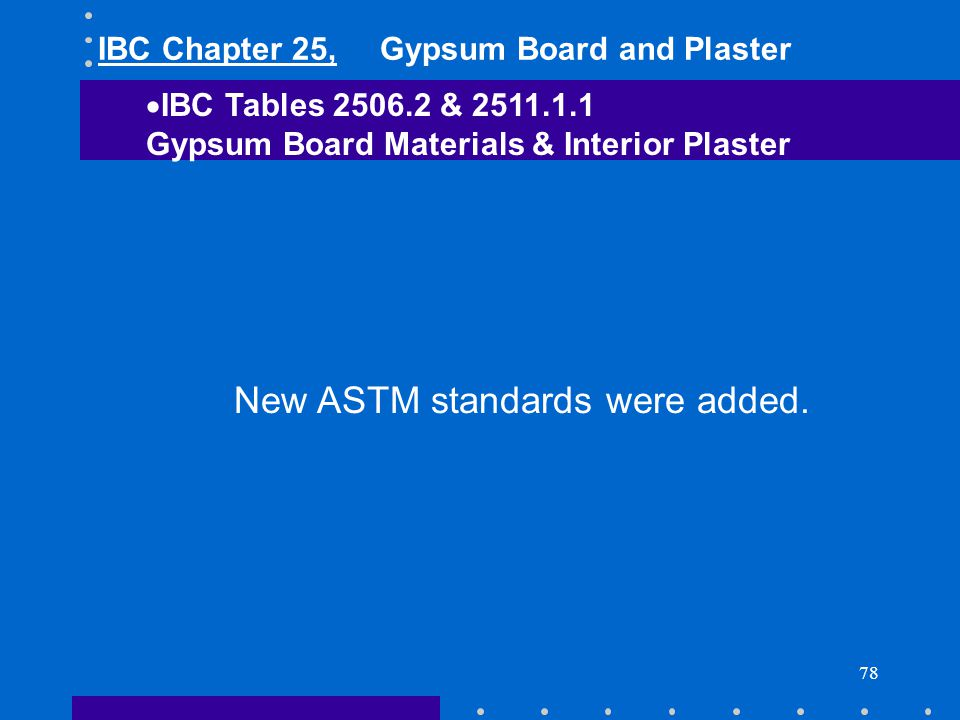 78 New ASTM standards were added. IBC Tables 2506.2 & 2511.1.1 Gypsum Board Materials & Interior Plaster IBC Chapter 25, Gypsum Board and Plaster