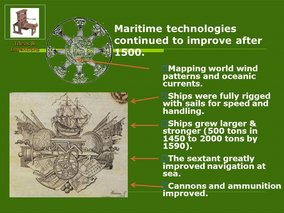Maritime technologies continued to improve after 1500.