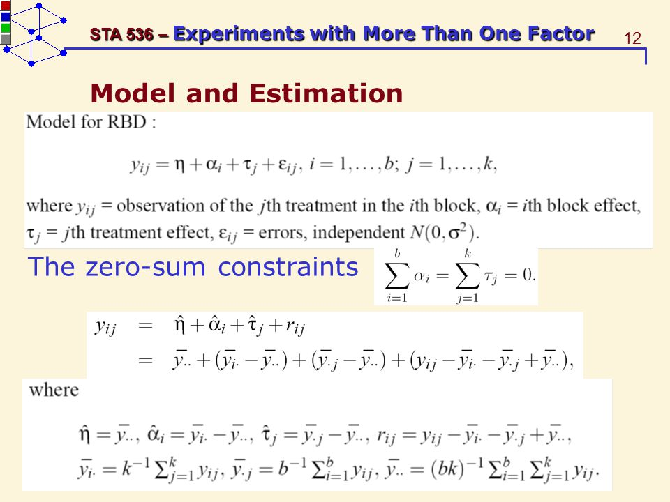 12 STA 536 – Experiments with More Than One Factor Model and Estimation The zero-sum constraints