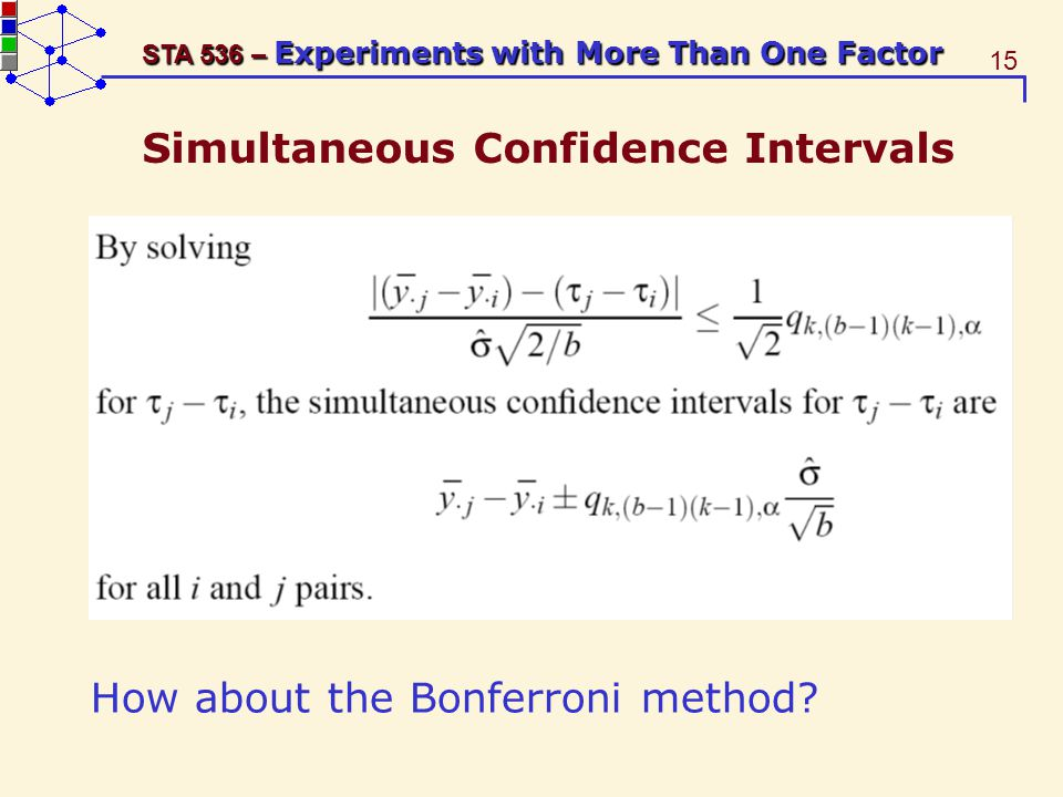 15 STA 536 – Experiments with More Than One Factor Simultaneous Confidence Intervals How about the Bonferroni method?