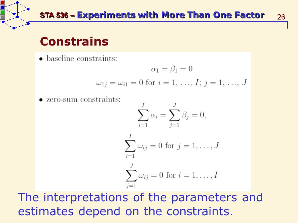 26 STA 536 – Experiments with More Than One Factor Constrains The interpretations of the parameters and estimates depend on the constraints.