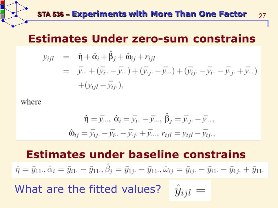 27 STA 536 – Experiments with More Than One Factor Estimates Under zero-sum constrains Estimates under baseline constrains What are the fitted values?