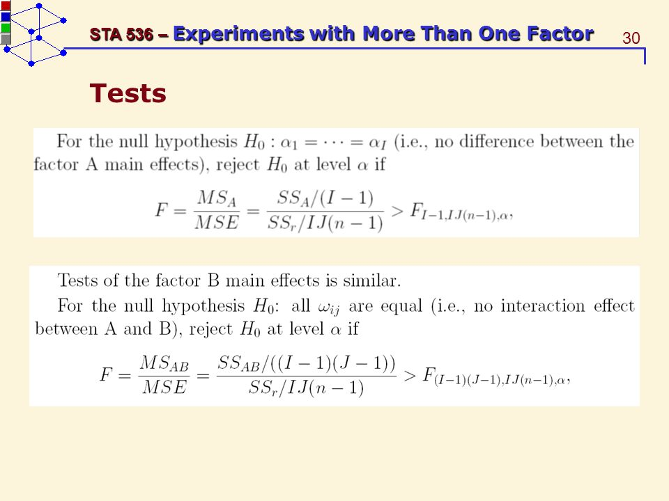 30 STA 536 – Experiments with More Than One Factor Tests