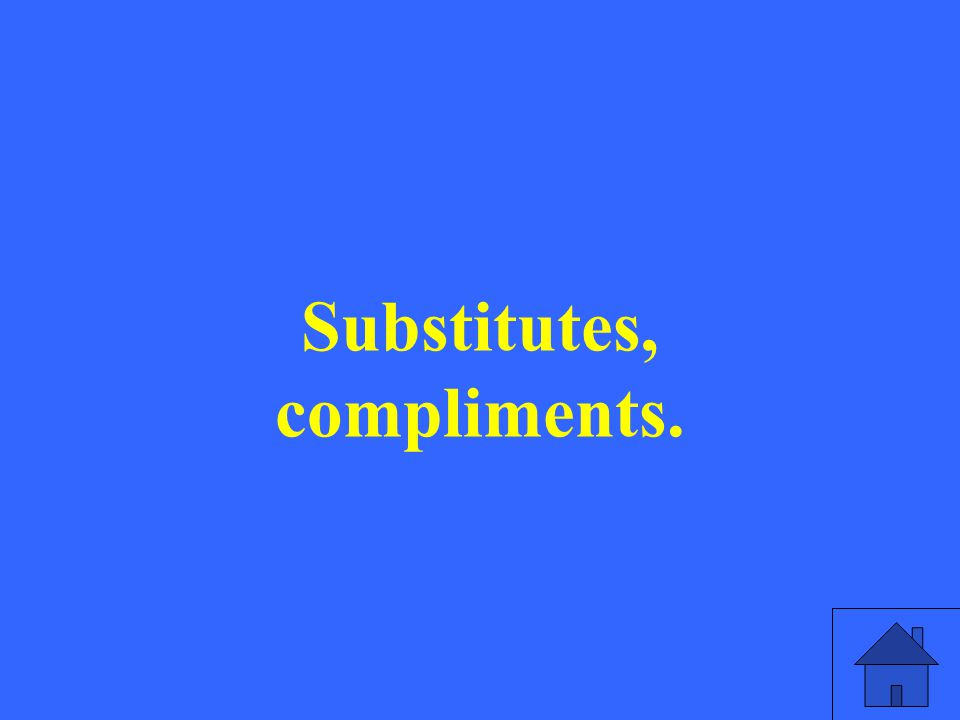 Substitutes, compliments.
