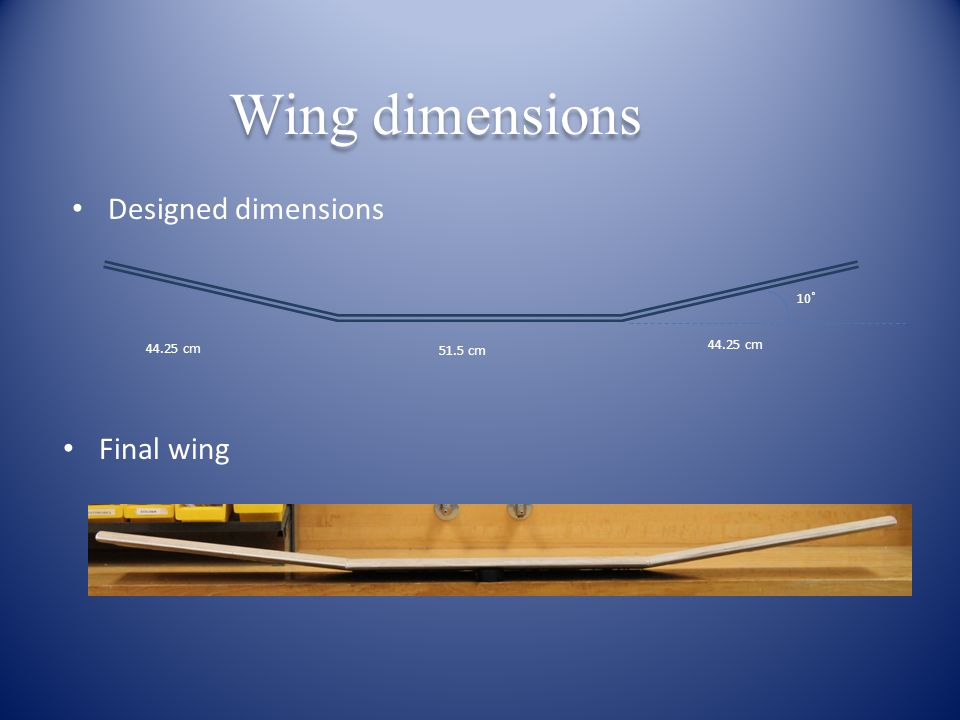 Designed dimensions Final wing 51.5 cm 44.25 cm 10˚ Wing dimensions