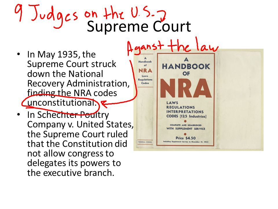 Supreme Court In May 1935, the Supreme Court struck down the National Recovery Administration, finding the NRA codes unconstitutional. In Schechter Po