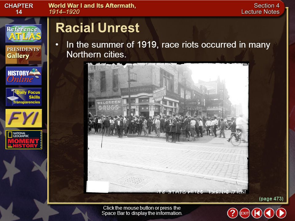 Section 4-11 Racial Unrest Click the mouse button or press the Space Bar to display the information.