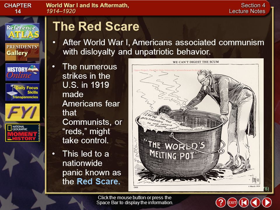 Section 4-14 The Red Scare Click the mouse button or press the Space Bar to display the information.