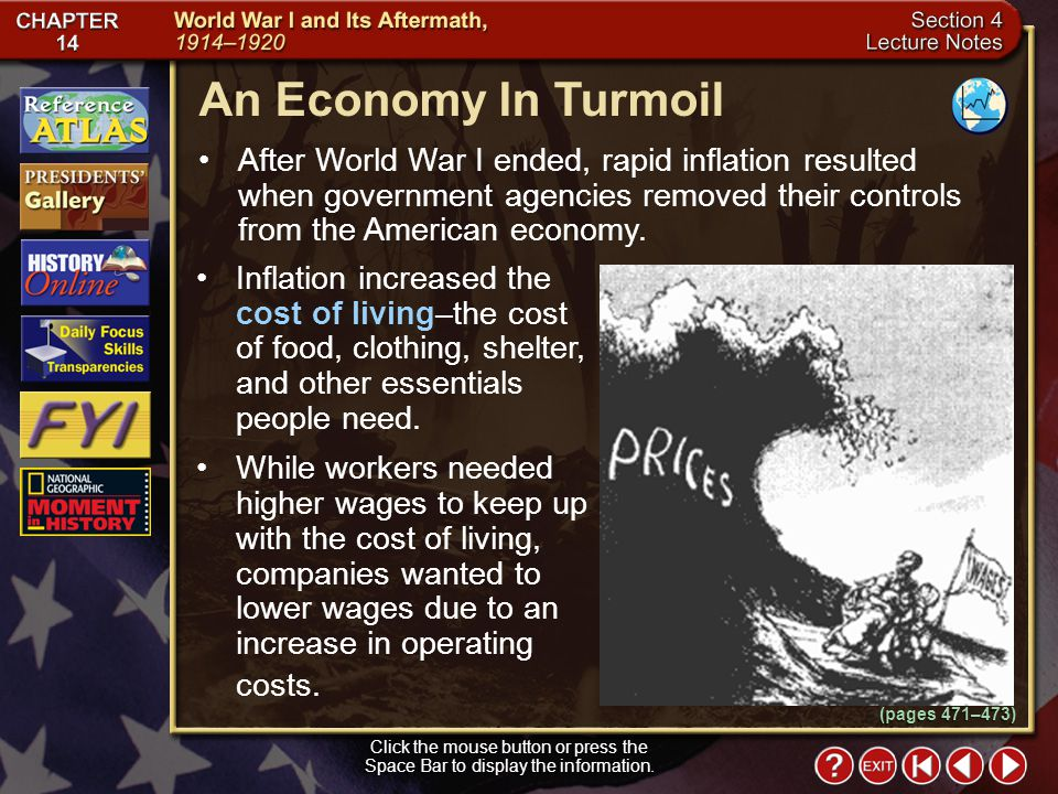 Section 4-5 An Economy In Turmoil Click the mouse button or press the Space Bar to display the information.