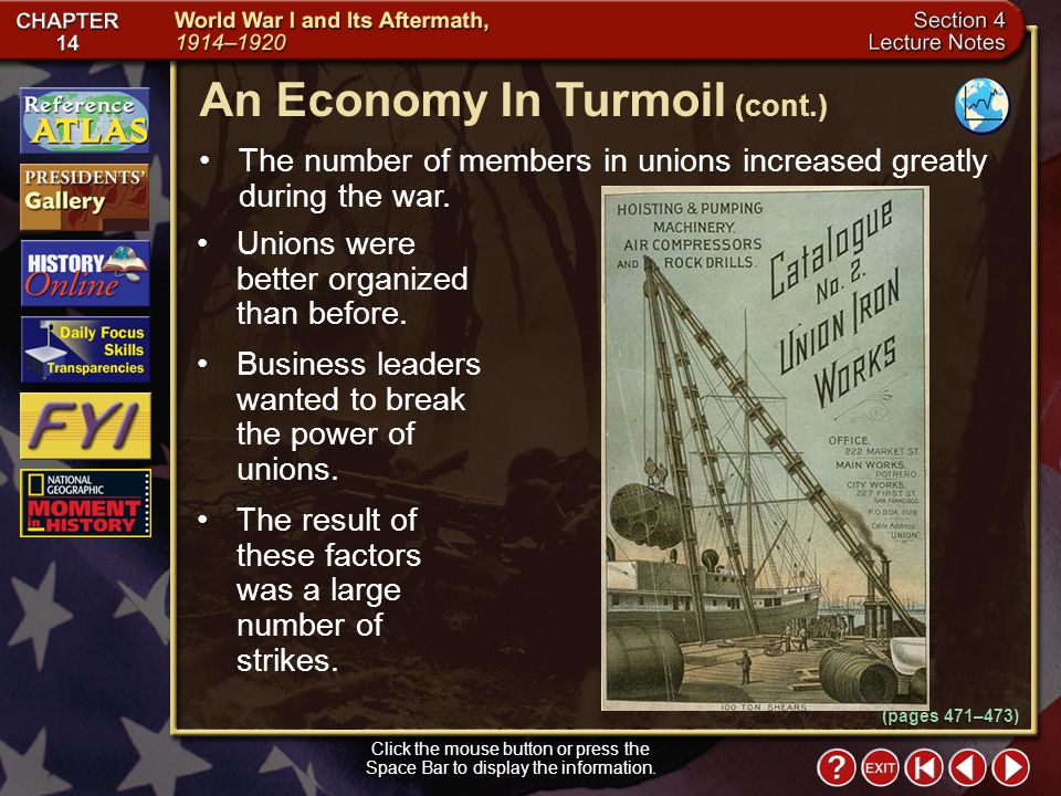 Section 4-6 The number of members in unions increased greatly during the war.