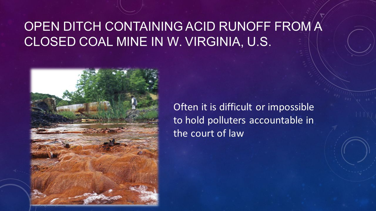 OPEN DITCH CONTAINING ACID RUNOFF FROM A CLOSED COAL MINE IN W.