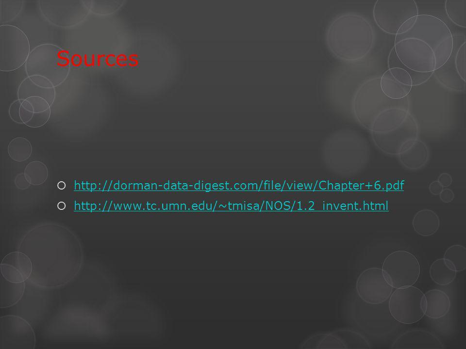 Sources http://dorman-data-digest.com/file/view/Chapter+6.pdf http://www.tc.umn.edu/~tmisa/NOS/1.2_invent.html