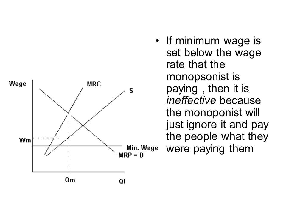 If minimum wage is set below the wage rate that the monopsonist is paying, then it is ineffective because the monoponist will just ignore it and pay t