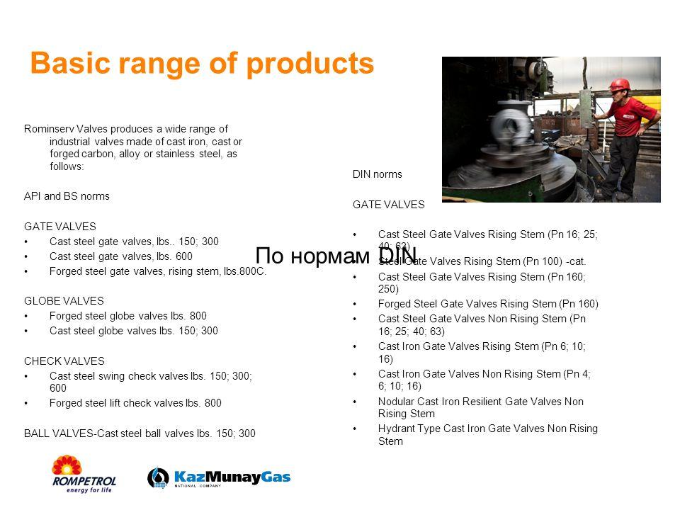 Basic range of products GLOBE VALVES Cast Steel Globe Valves St Body (Pn 16; 25; 40; 63; 100; 160 Cast Steel Globe Valves Angle Body (Pn 25; 40; 63) Cast Steel Globe Valves Pneumatically Driven (Pn 16; 63) Cast Iron Globe Valves (Pn 6; 16) Cast Iron Gate Valves with Rubber Globe (Pn 6; 16) Cast Iron Close Valves with Float (Pn 10) BALL VALVES Cast Steel Ball Valves (Pn 16; 25; 40; 63) Nodular Cast Iron Ball Valves (Pn 6; 10; 16; 25) DIN norms CHECK VALVES Cast Steel Swing Check Valves (Pn 16; 25; 40; 63) Cast Iron Swing Check Valves (Pn 10; 16) Cast Steel Lift Check Valves Straight Body (Pn 25; 40; 63 Cast Steel Lift Check Valves Angle Body (Pn 25; 40; 63) Cast Iron Lift Check Valves (Pn 6; 16) Cast Steel Check Valves St Body with Adj.